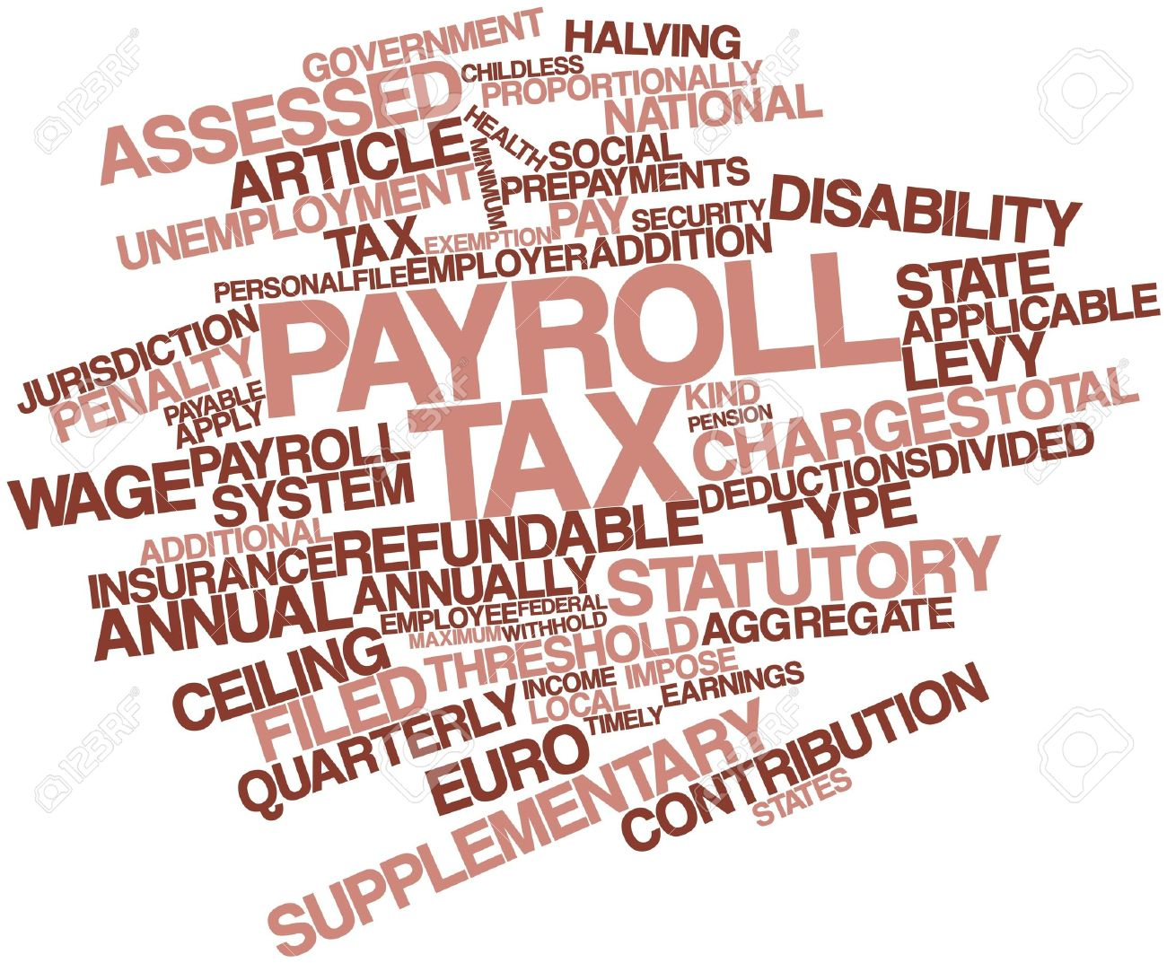 16982982-Abstract-word-cloud-for-Payroll-tax-with-related-tags-and-terms-Stock-Photo